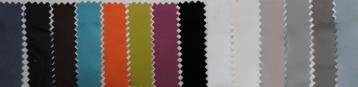 Gamas de colores a disposición de los clientes. En Microfibra, en Poliester Algodón 50%50%, siempre en stock.